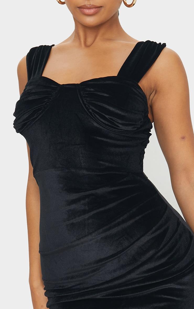 Black Velvet Ruched Binded Cup Detail Midi Dress 4