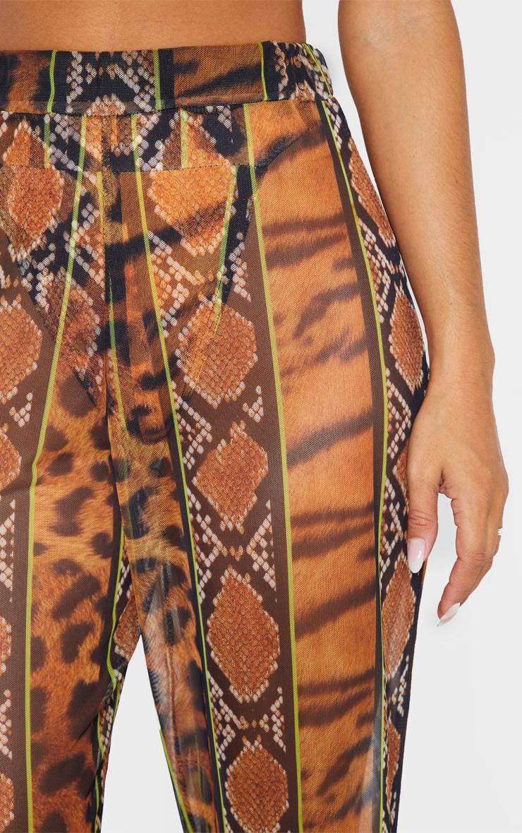 Orange Stripe Tiger Print Mesh Pants 6