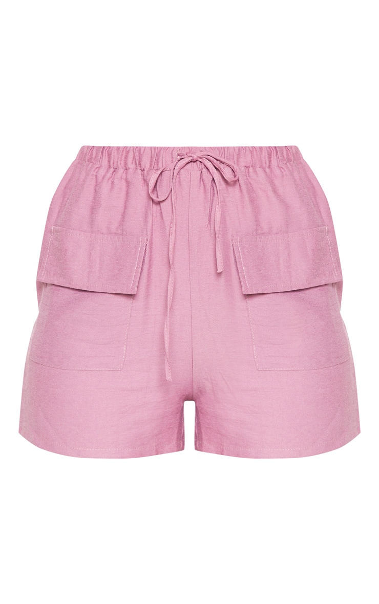 Rose Woven Pocket Front Drawstring Short  3