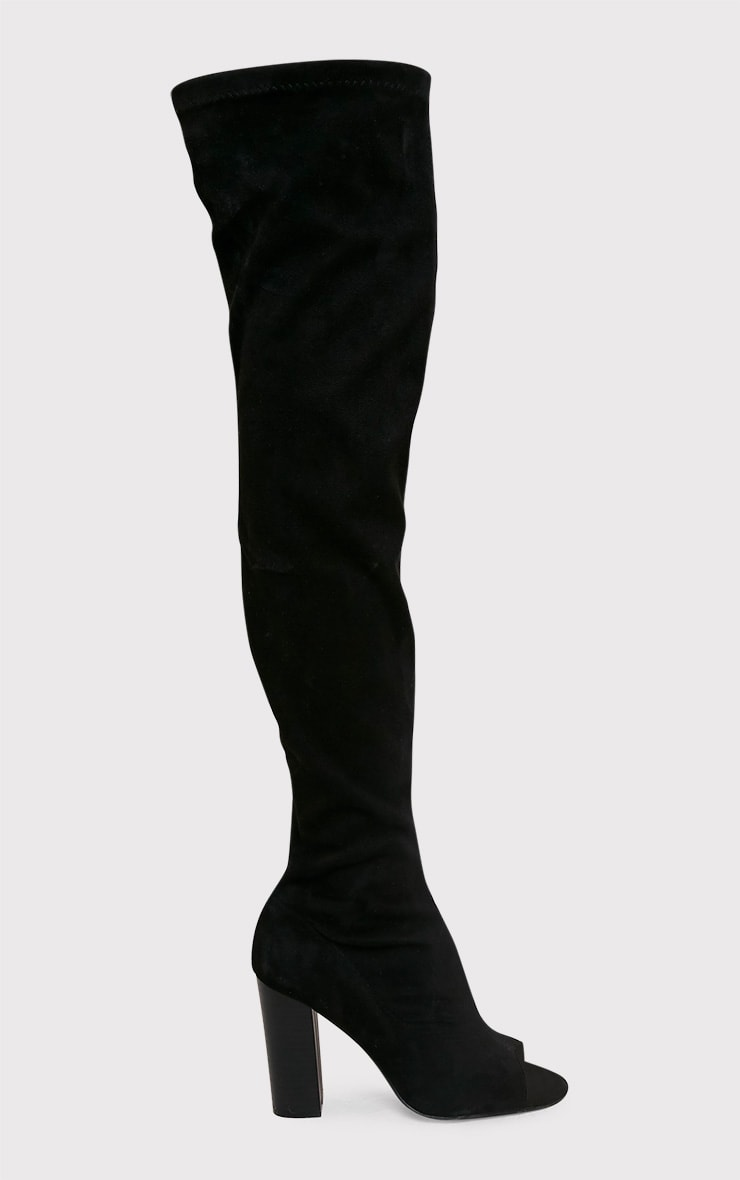 Beccy Black Faux Suede Over The Knee Peep Toe Boots 2