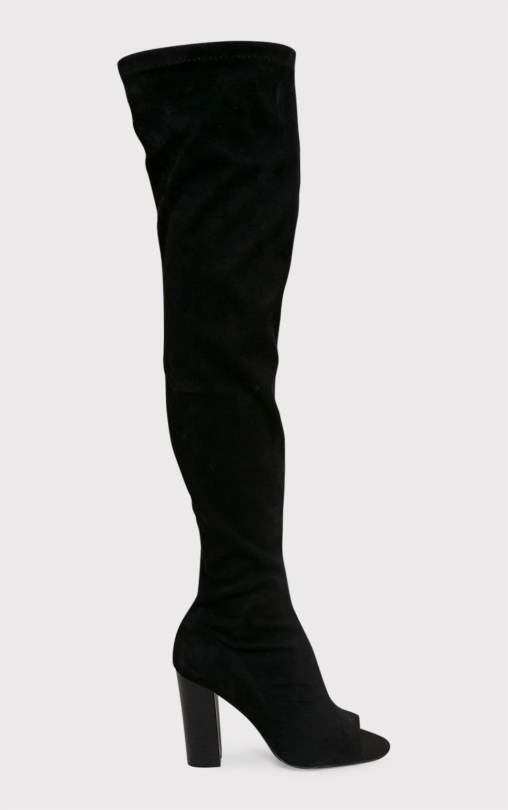 Beccy bottes cuissardes noires à bout ouvert en imitation daim 2