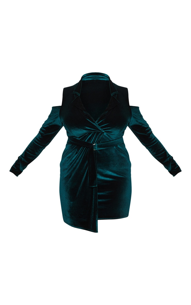 Plus Emerald Green Velvet Cold Shoulder Blazer Dress 3