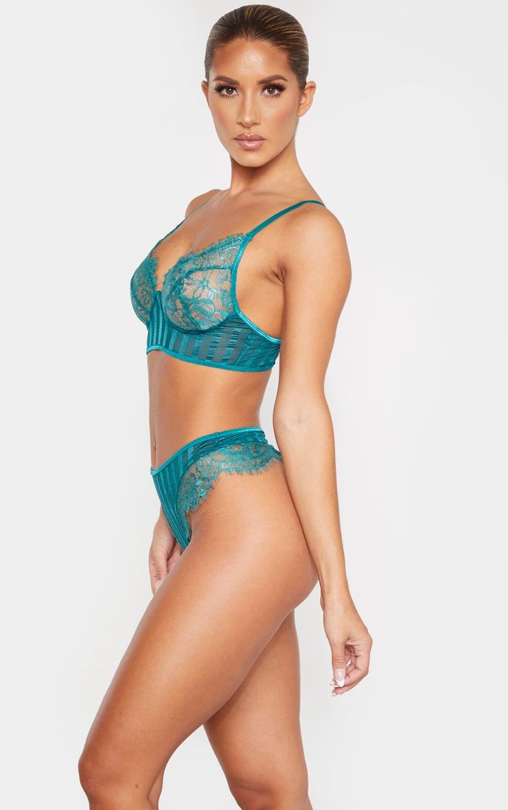 Emerald Striped Lace High Leg Thong 2