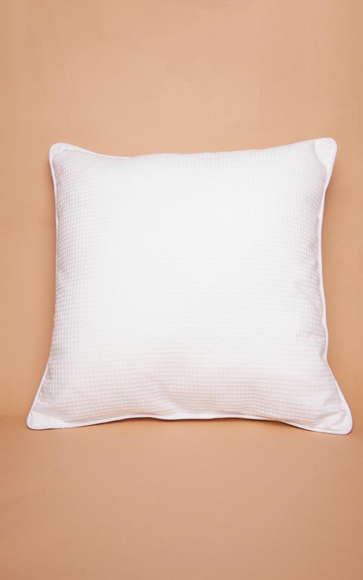 PRETTYLITTLETHING White Waffle Large Cushion 3