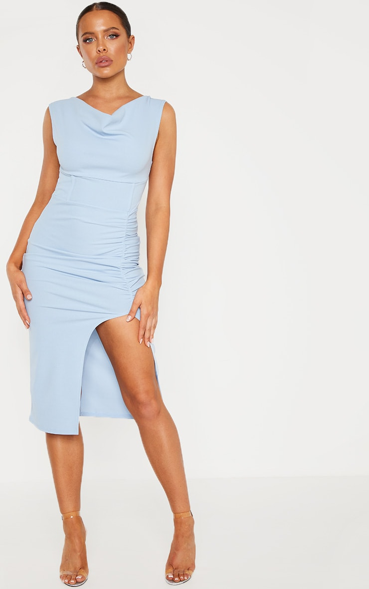 Dusty Blue Ruched Cowl Neck Midi Dress 1
