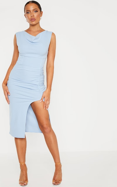 036f96ea029 Dusty Blue Ruched Cowl Neck Midi Dress