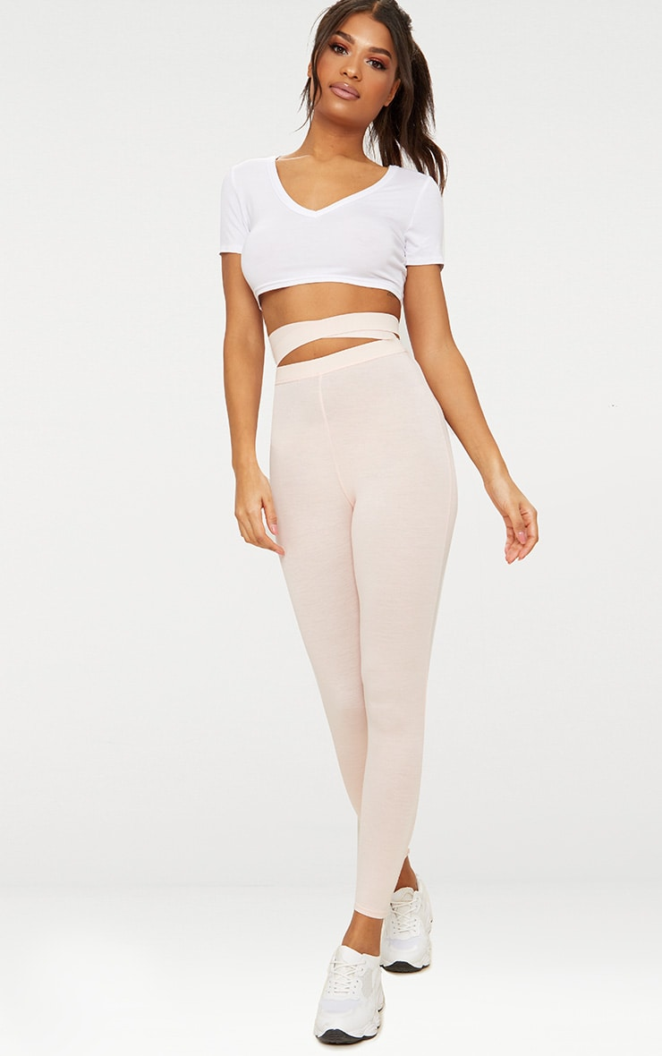 Nude Strappy Waist Leggings 1