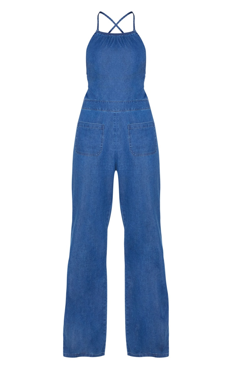 Dark Wash 70's Tie Back Jumpsuit 4