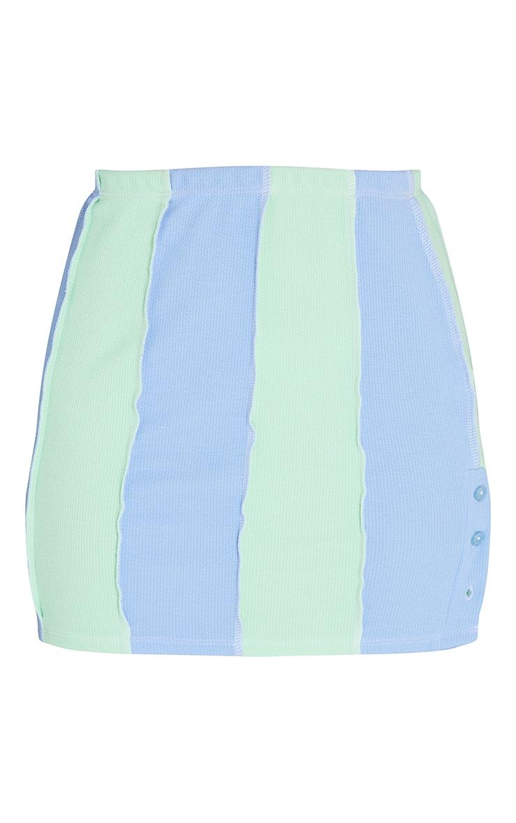 Blue Contrast Stripe Button Detail Hem Skirt 6