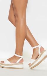 White Croc Faux Leather Flatform Sandal 3