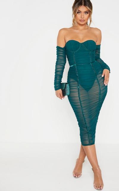 Jasper Green Mesh Ruched Velvet Binded Bardot Midi Dress