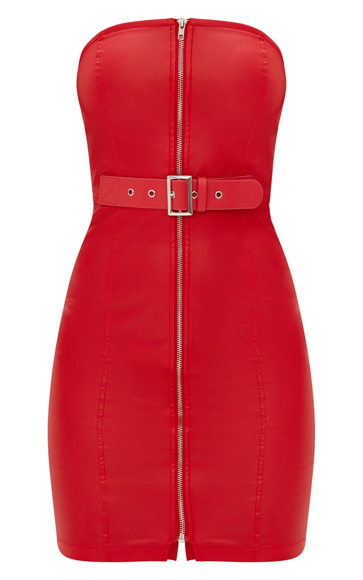 Red Faux Leather Belt Detail Bodycon Dress 3