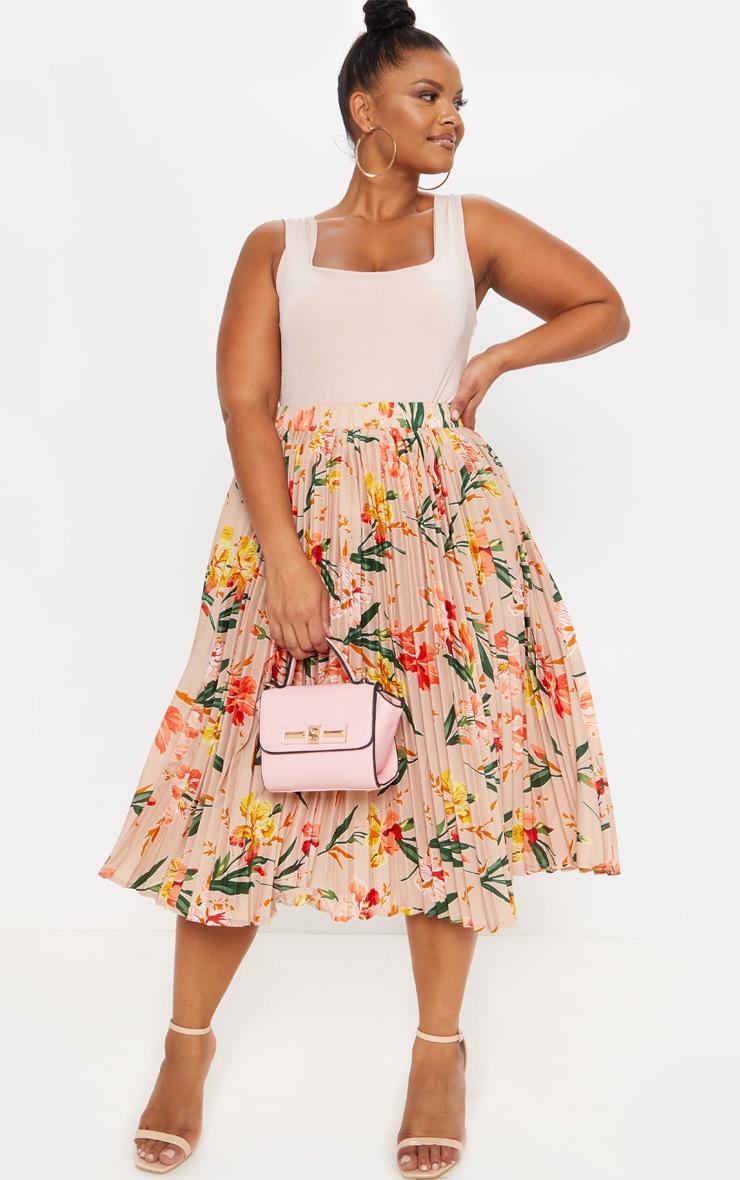 Plus Pink Pleated Midi Skirt 1