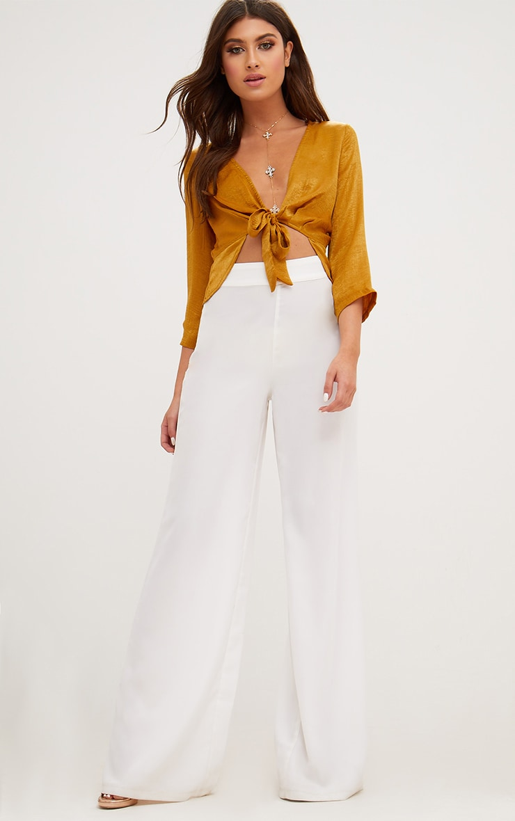 Mustard Hammered Satin Tie Front Frill Crop Top 4