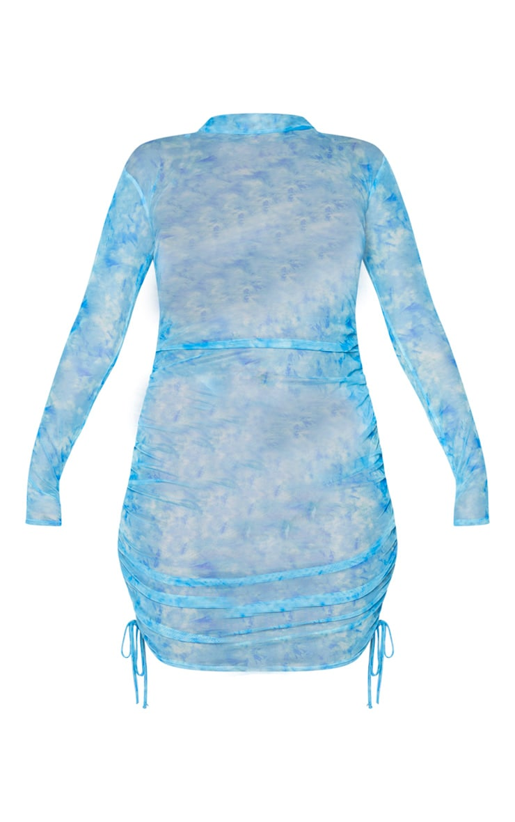 Blue Tie Dye Mesh Ruched Long Sleeve Bodycon Dress 5
