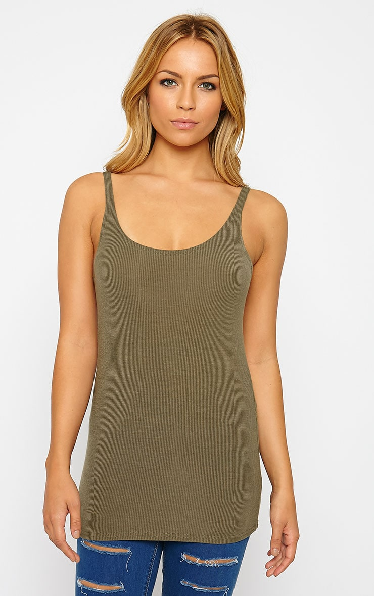Basic Khaki Ribbed Vest Top 4