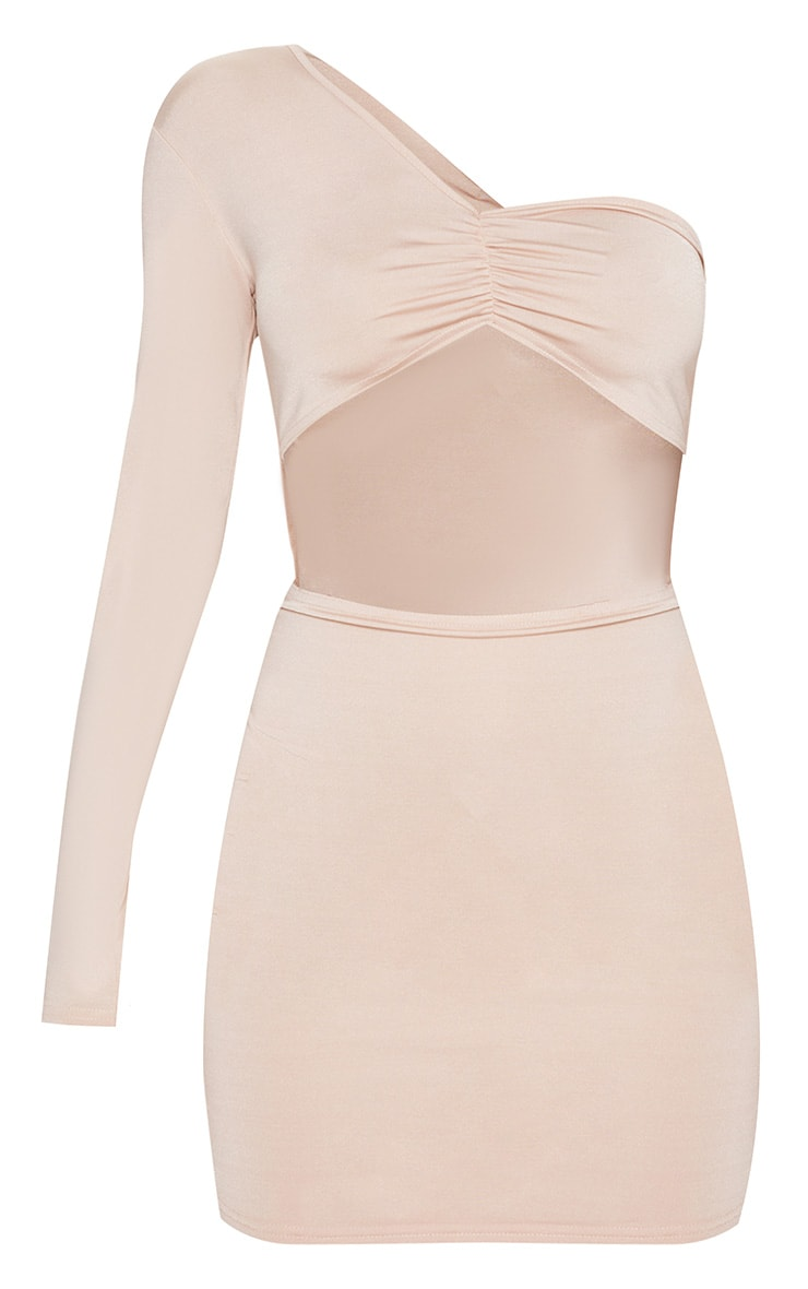 Nude Slinky One Shoulder Ruched Cut Out Bodycon Dress 3