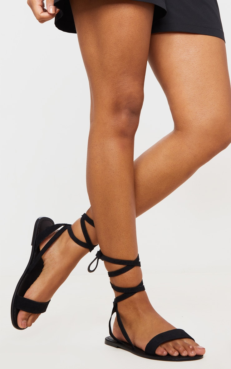 Black Wide Fit Suede Strappy Basic Sandal 2