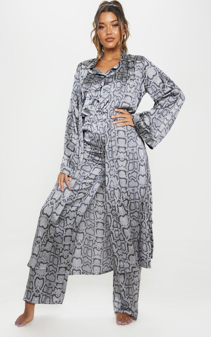 Monochrome Snake Print Long Sleeve Satin Robe 4
