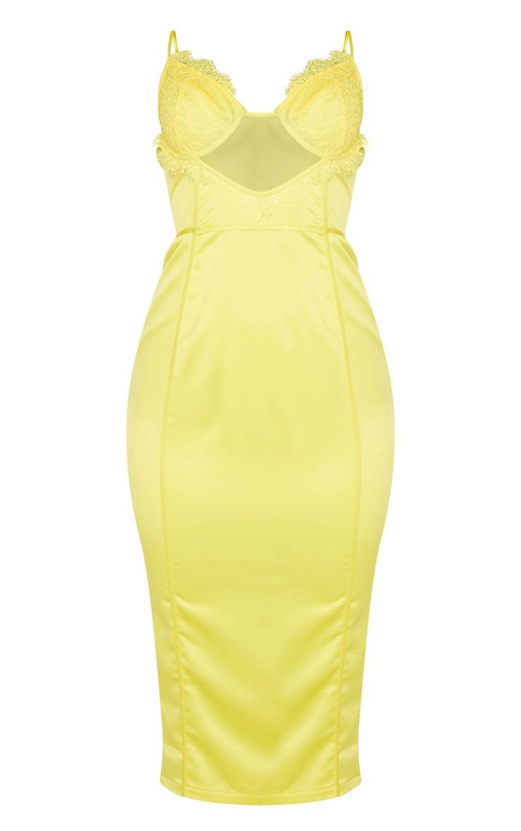 Yellow Strappy Lace Insert Binding Midi Dress 5