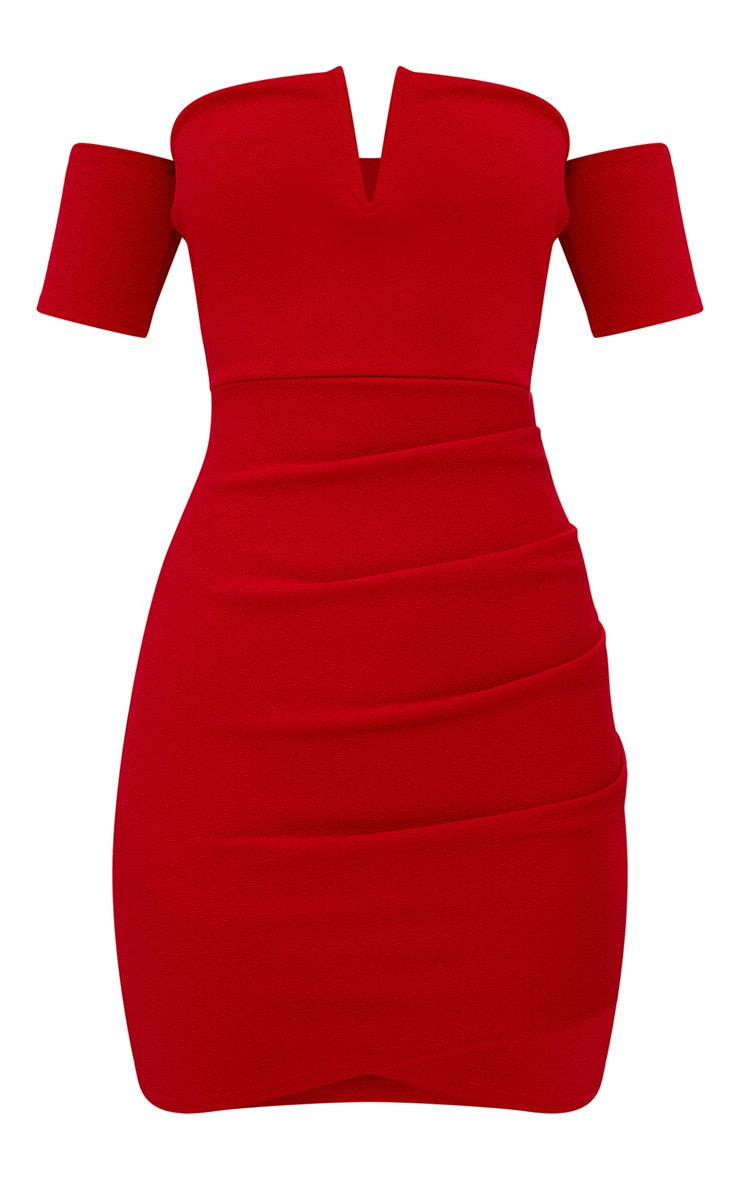 Red Bardot Wrap Front Bodycon Dress 3