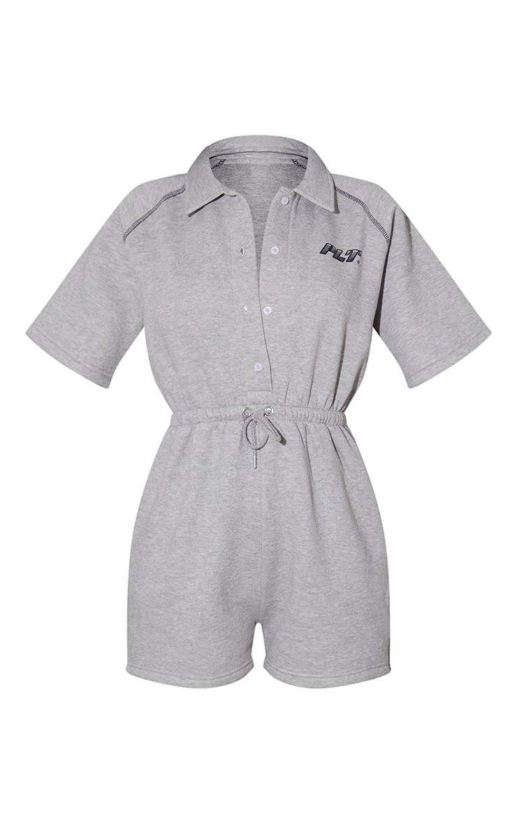 PRETTYLITTLETHING Grey Marl Sweat Buttoned Playsuit 5