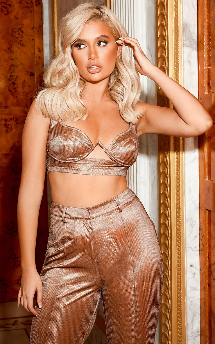 Copper Metallic Underwire Glitter Bralet image 1