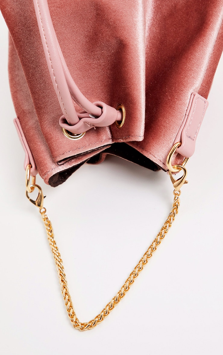 Pink Crushed Velvet Mini Duffle Bag 4