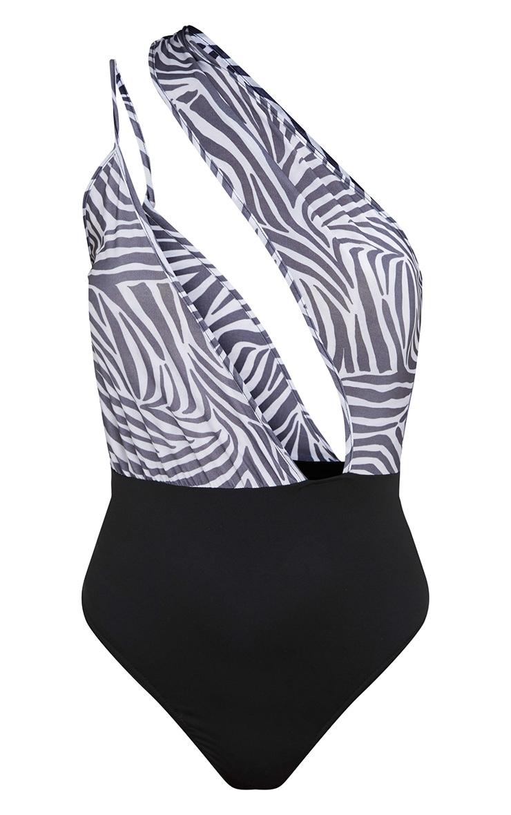 Black Slinky Zebra Print One Shoulder Thong Bodysuit 3