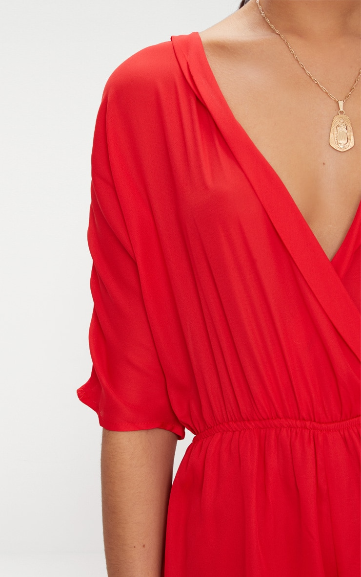Red Wrap Front Playsuit 5