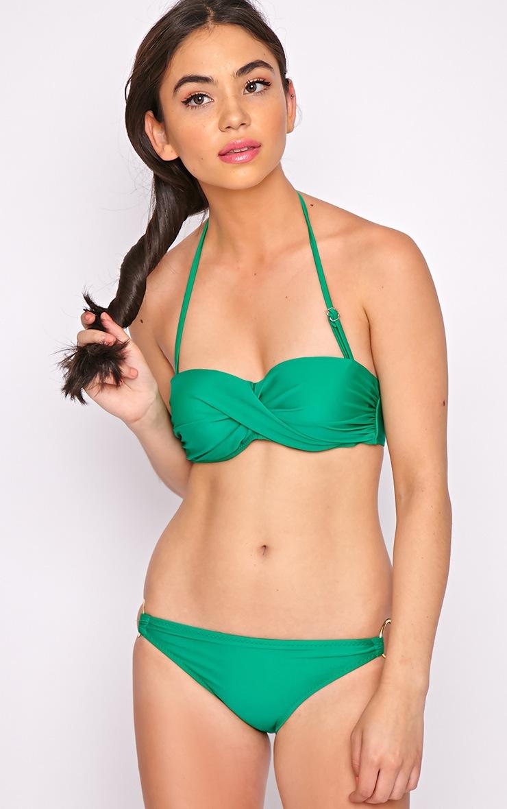 Hailey Green Twist Bandeau Bikini Top 3