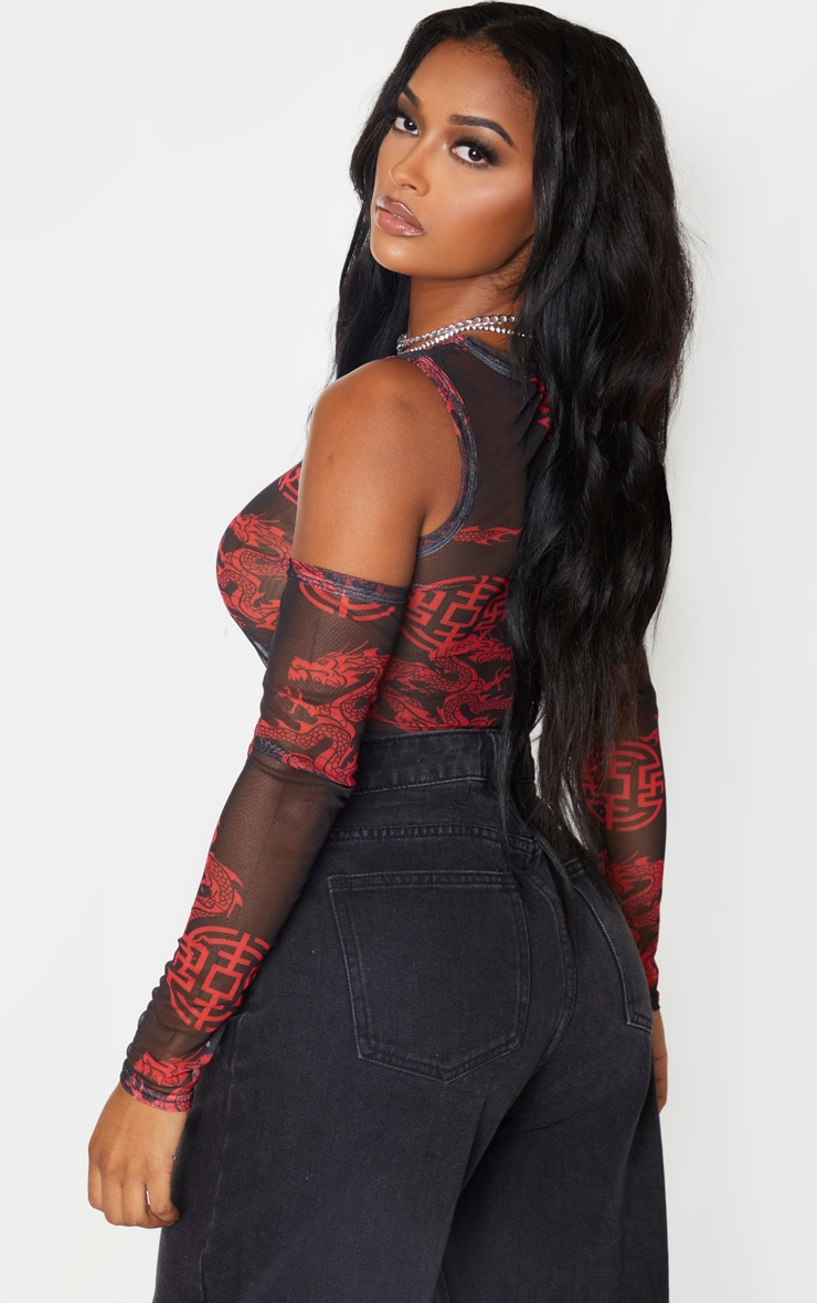Shape Black Print Print Ruched Sleeve Cold Shoulder Crop Top 2