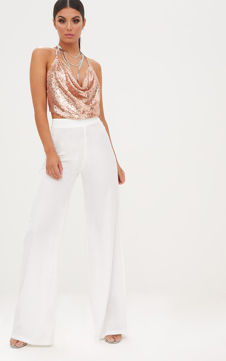 Rose Gold Cowl Neck Sequin Chain Crop Top 4