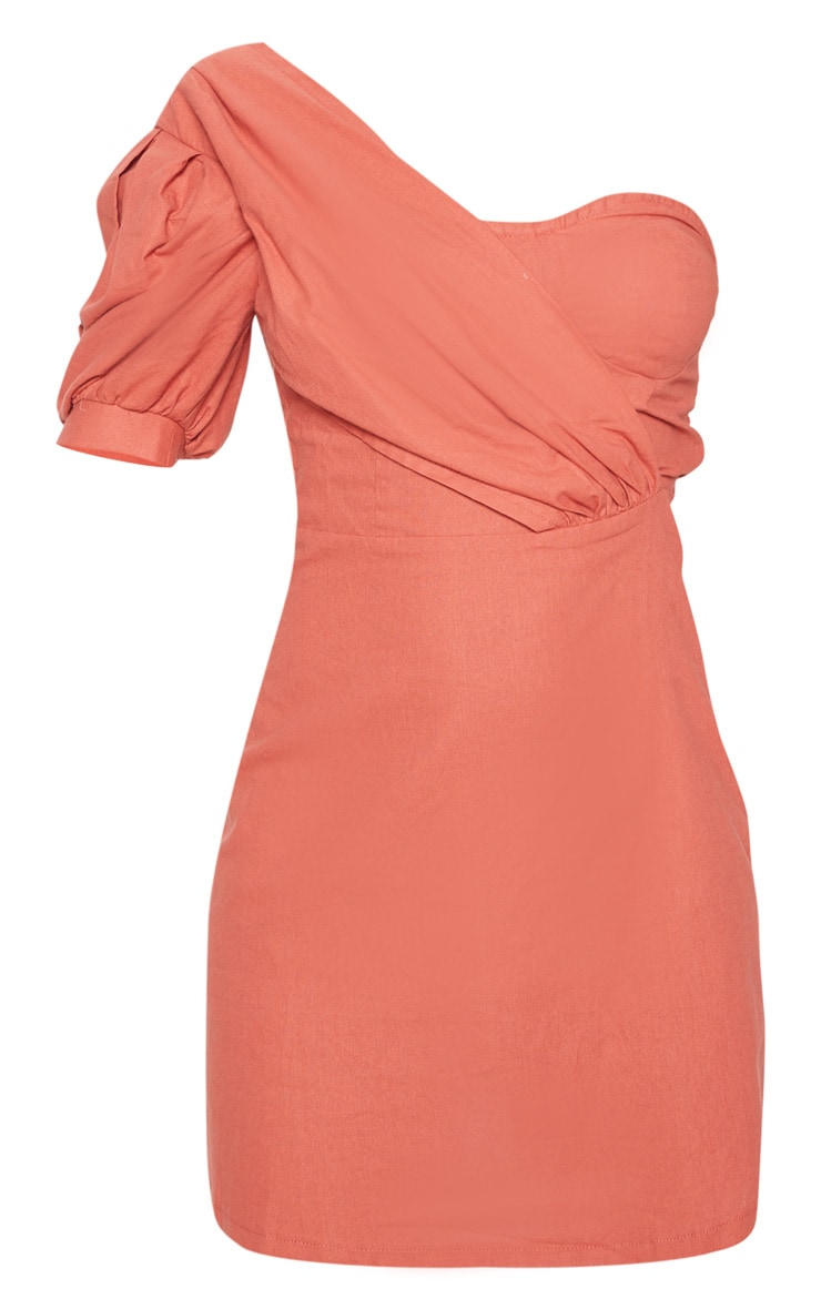 Rust One Shoulder Puff Sleeve Bodycon Dress 3