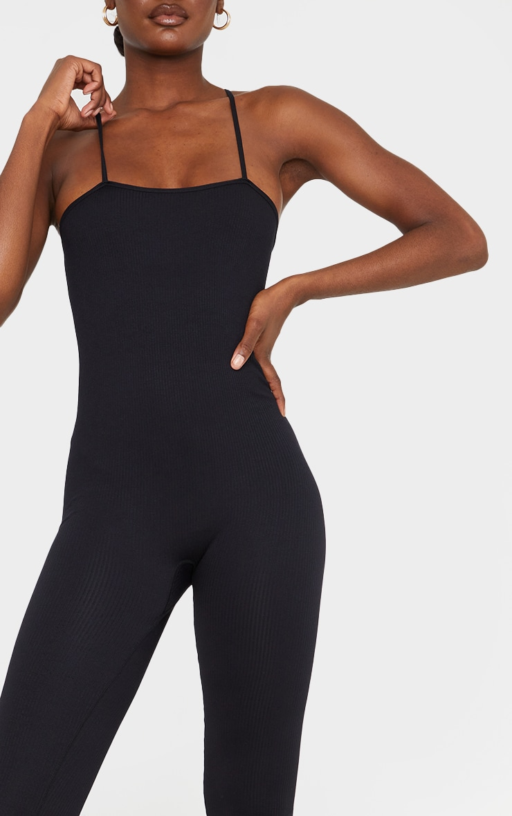 Tall Black Strappy Contour Ribbed Jumpsuit 4