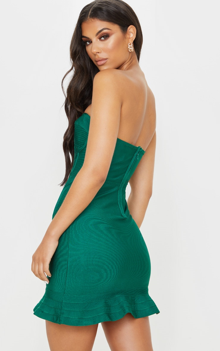 Emerald Green Bandage Frill Hem Bodycon Dress 2