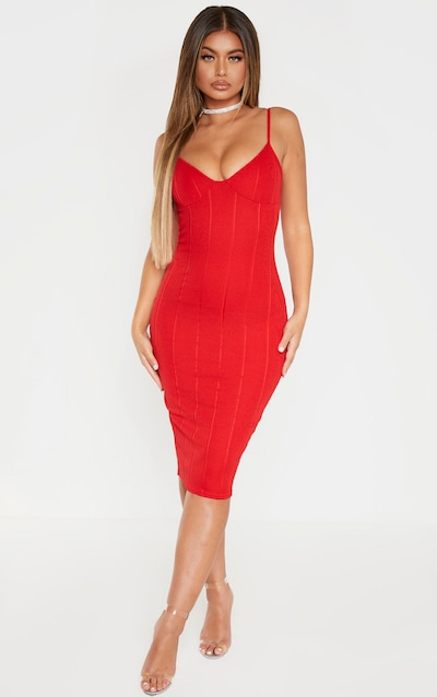 Red Bandage Strappy Cup Detail Midi Dress