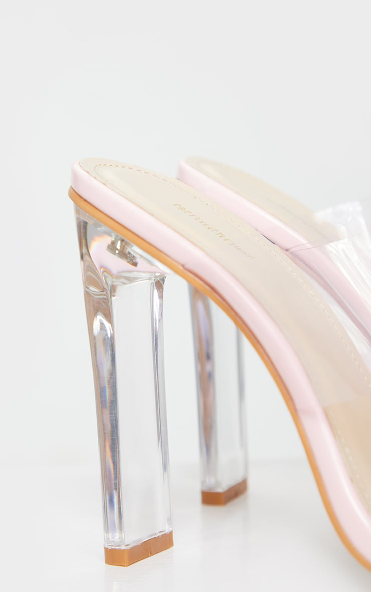 Pink Tinted Clear Twin Strap Mule Heels 5