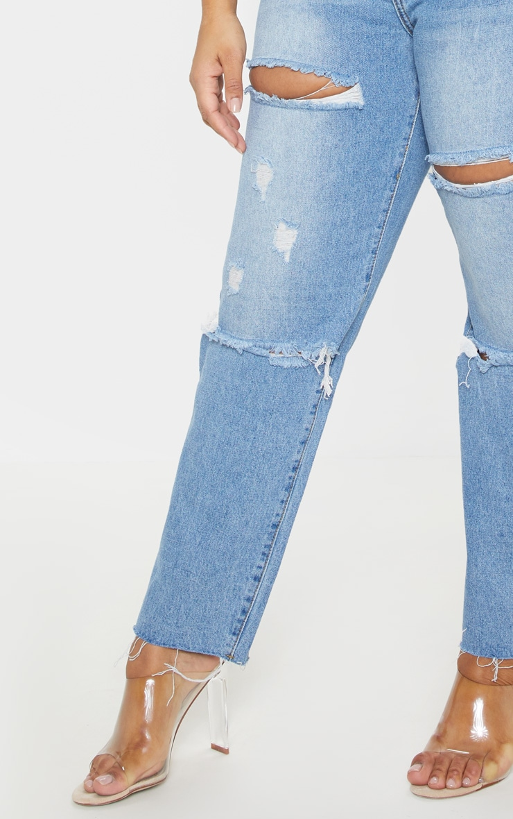 Plus Mid Wash Rip Straight Leg Jean 5