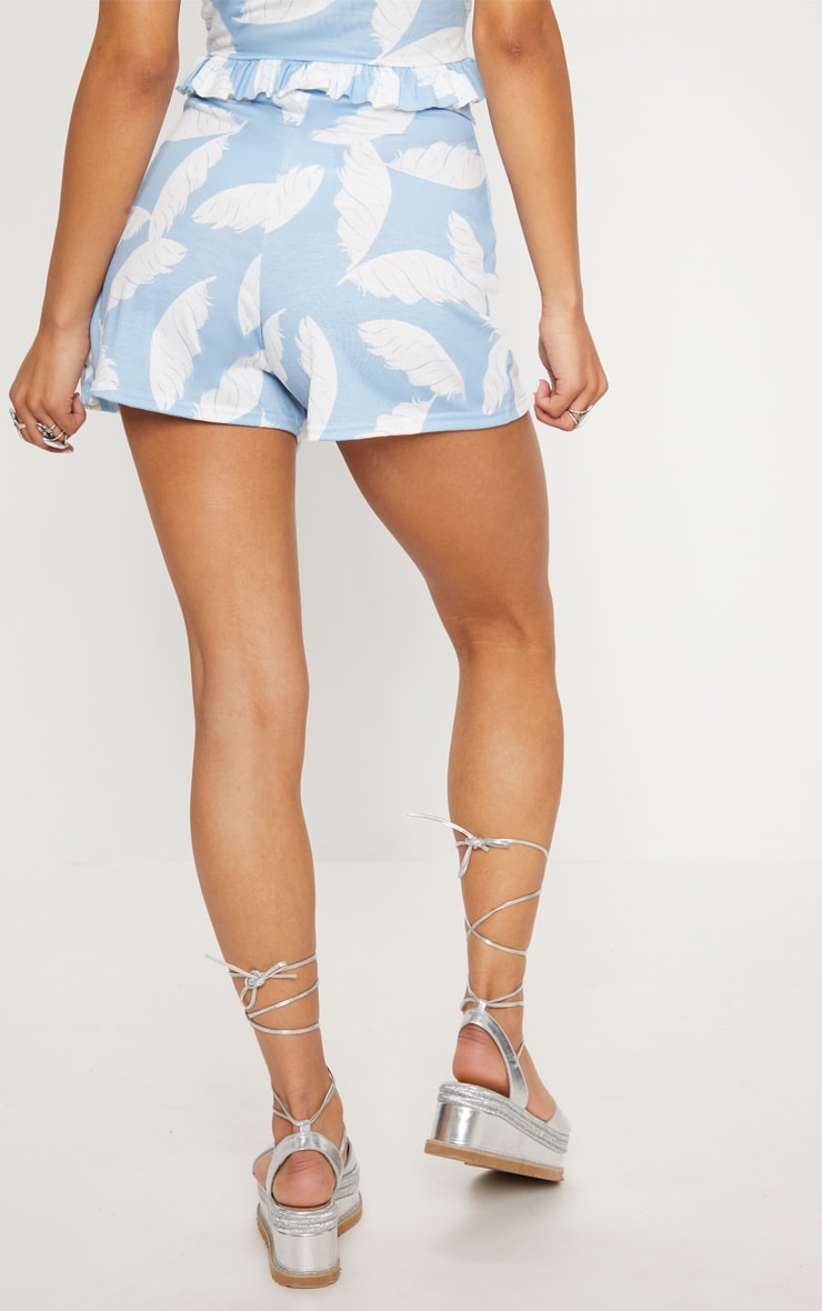 Dusty Blue Palm Print High Waisted Shorts 4
