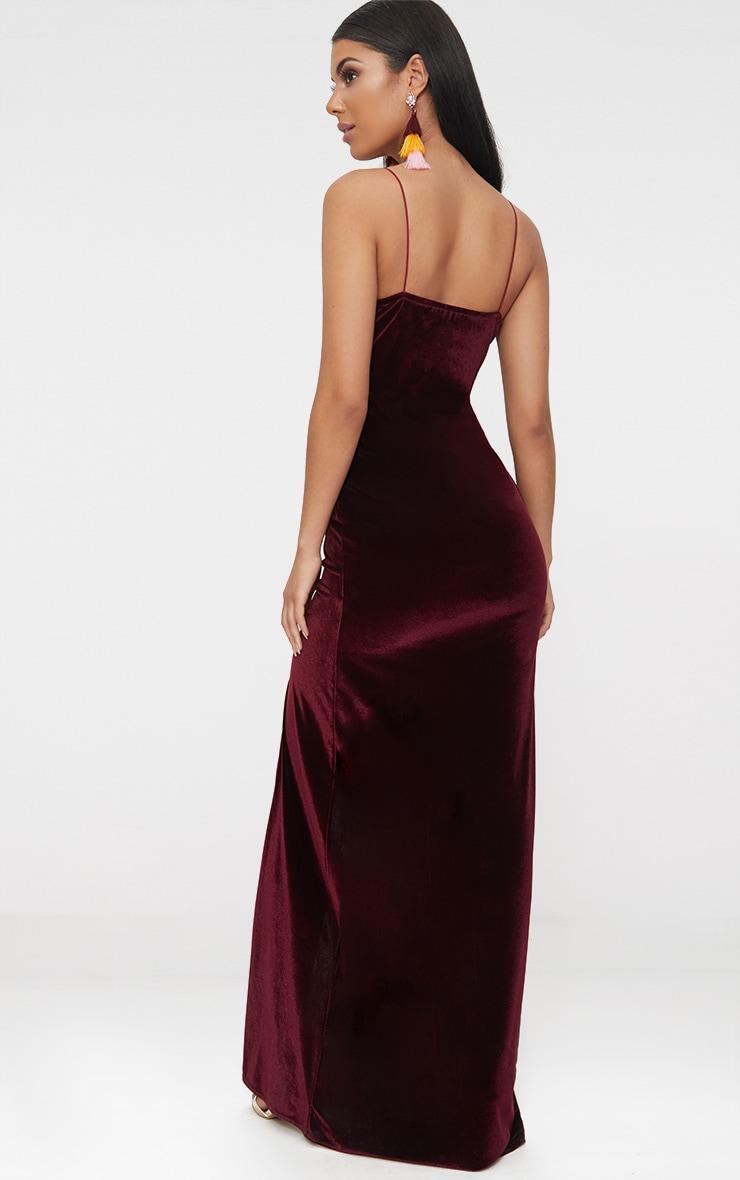 Burgundy Velvet Plunge Strappy Split Detail Maxi Dress 2