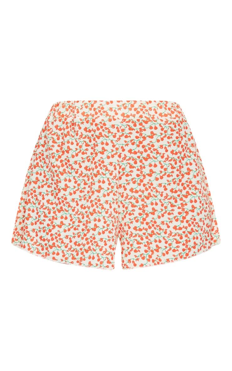 Cream Floral Print Lightweight Floaty Shorts 6