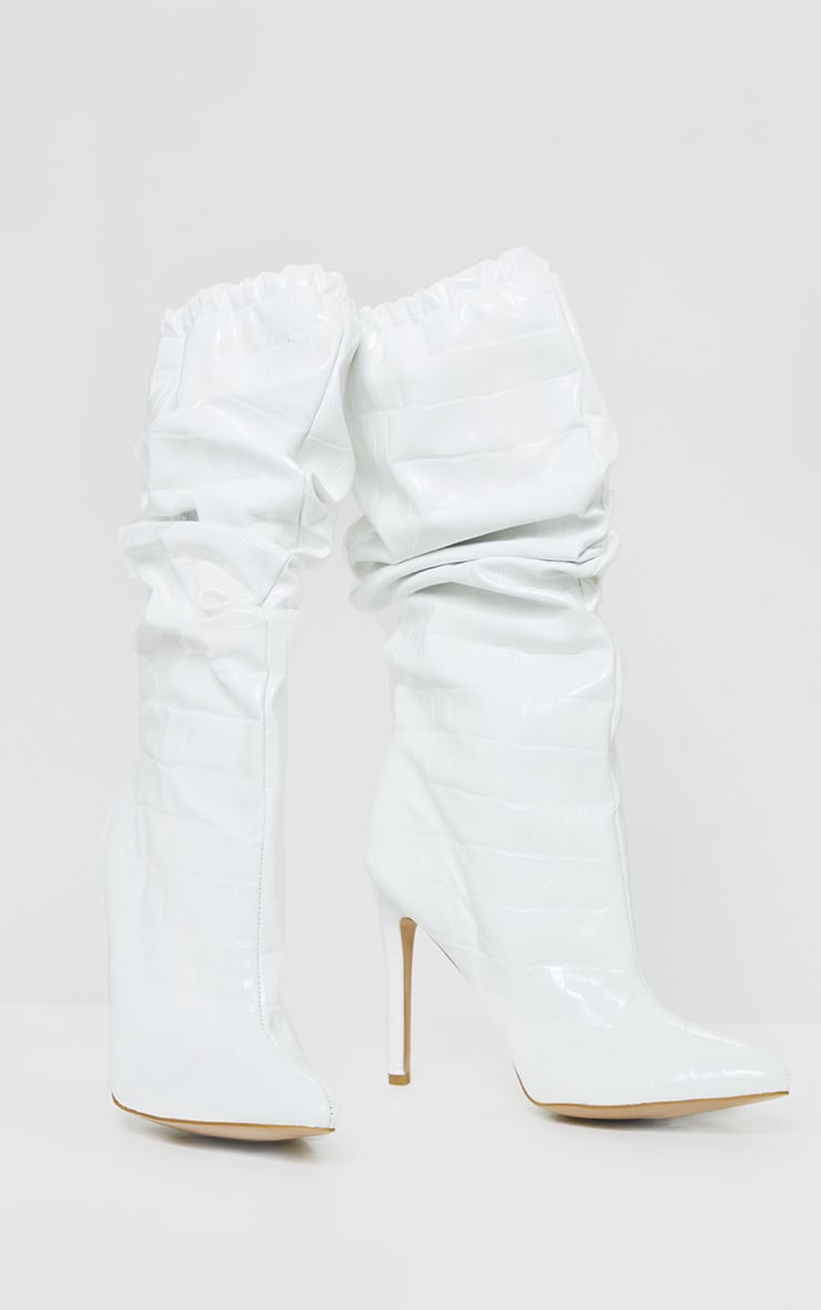 White Slouch Calf High Point Boots 3