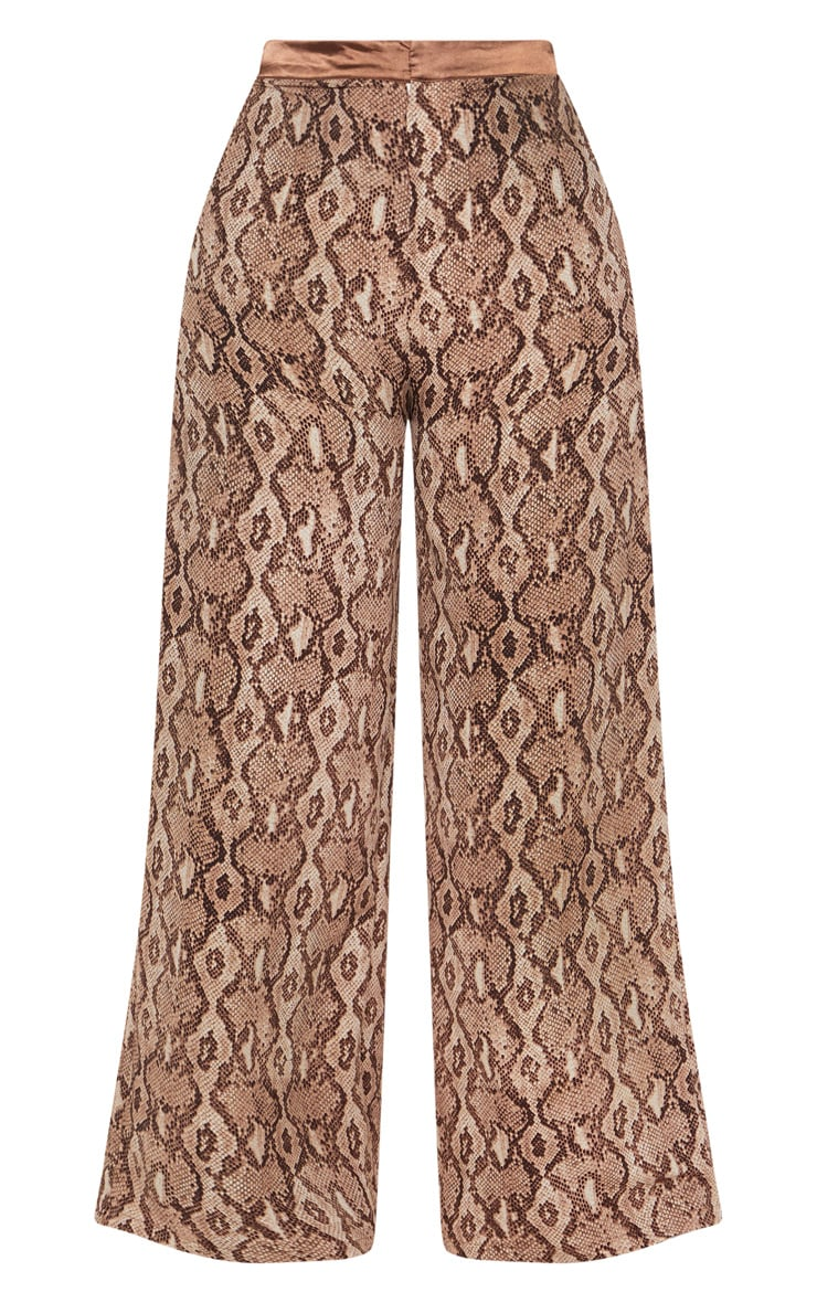 Plus Taupe Snake Print Wide Leg Pants 3