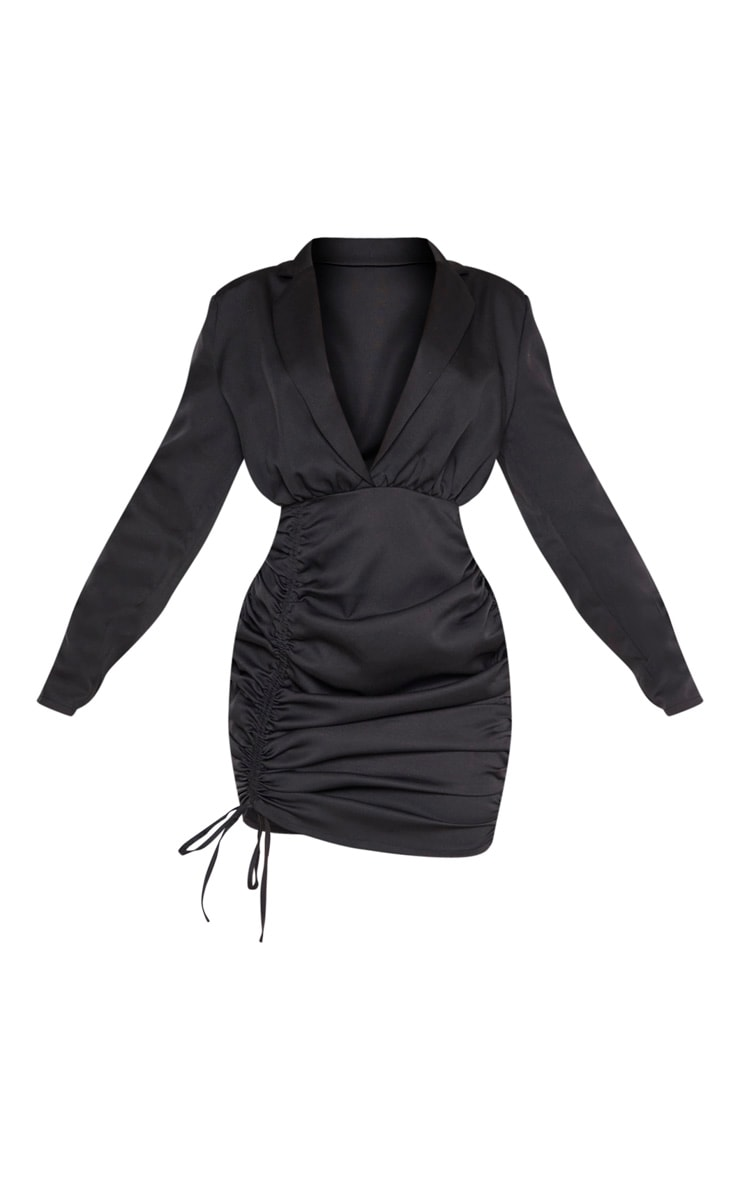 Black Woven Ruched Deep Plunge Blazer Dress 3