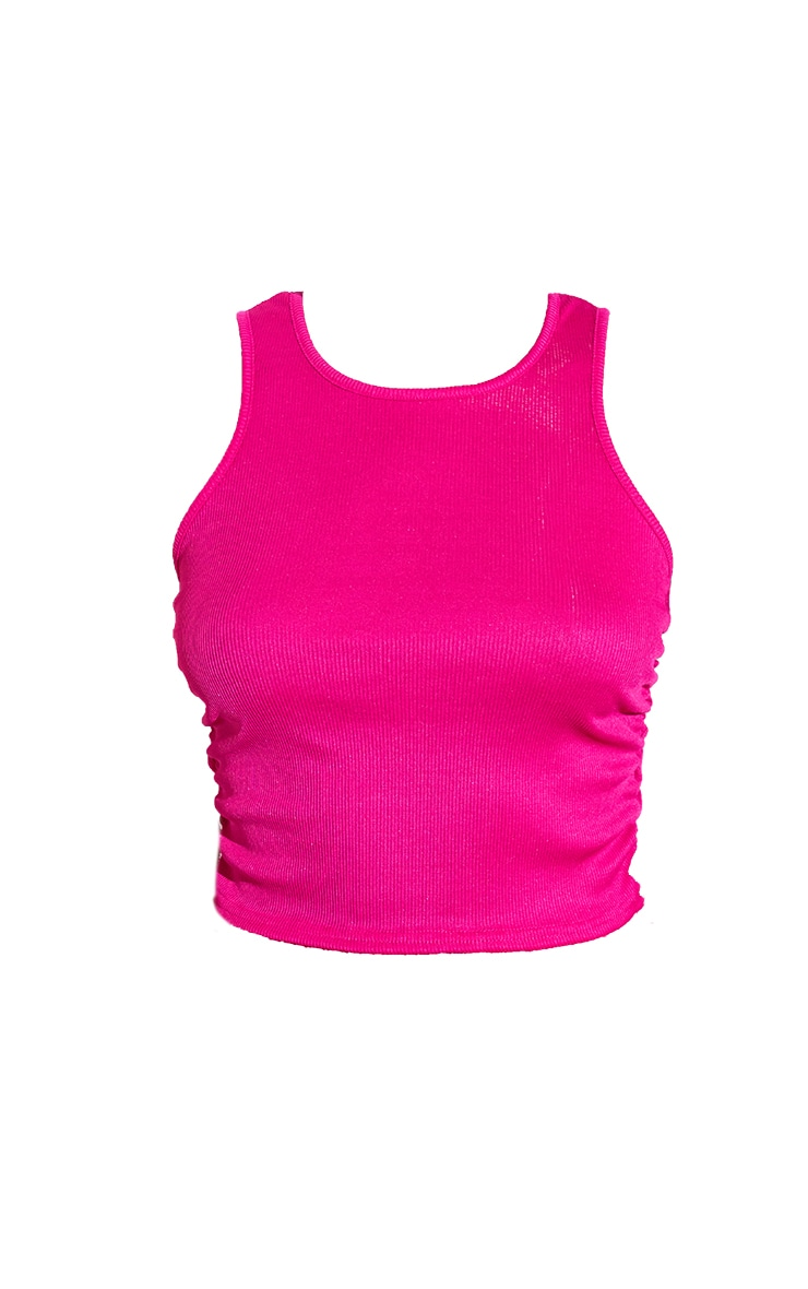 RENEW Pink Rib Ruched Side Racer Top 5