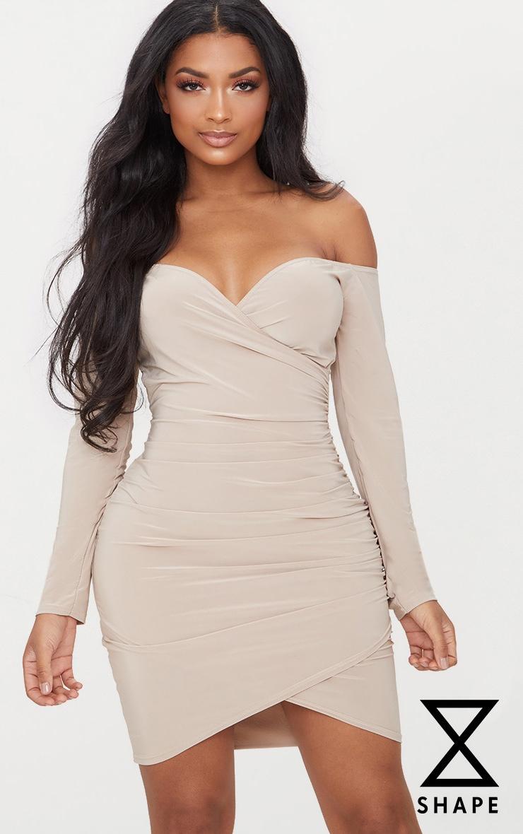 Stone Shape Slinky Ruched Detail Bardot Dress  1