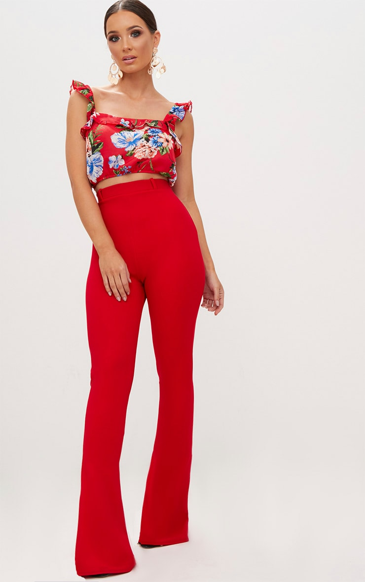 Red Floral Print Ruffle Strap Crop Top 4