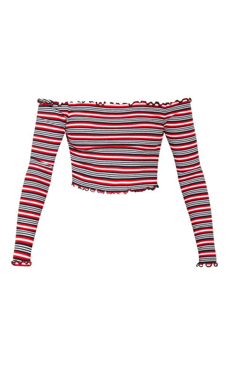 Crop top en jersey rouge à rayures et volants 3