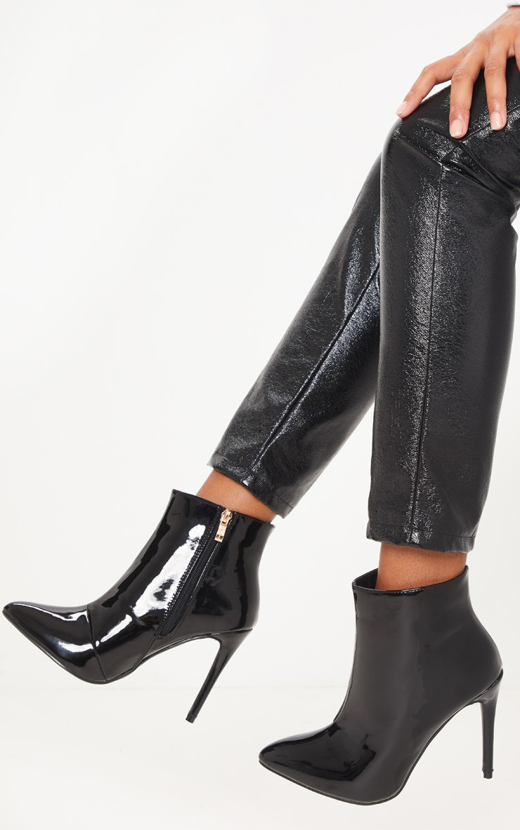 Black Patent Point Heel Ankle Boot